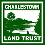 Green on white wood block cut of a salt pond with pine tree in forground.  The words Charlestown Land Trust border the top and bottom.
